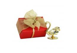 Lebada aurie cu cristale Swarovski si ambalaj cadou