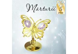 Fluturas cu cristale Swarovski violet - oferta de 5 marturii