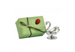 Lebada cu cristale Swarovski albe si ambalaj cadou