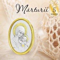 Iconita argintata - oferta de 5 marturii de nunta sau botez