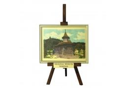 Tablou sevalet Manastirea Moldovita - pe foita de aur de 23Kt