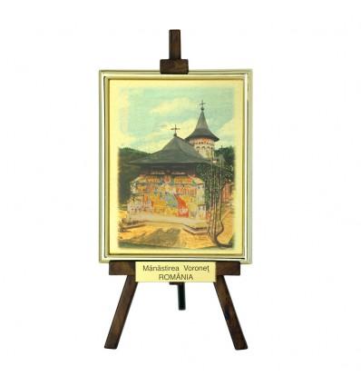 Tablou sevalet Manastirea Voronet - pe foita de aur de 23Kt