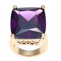 Inel placat cu aur si cubic zirconia violet