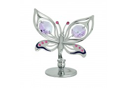 Fluturas cu cristale Swarovski violet si roz