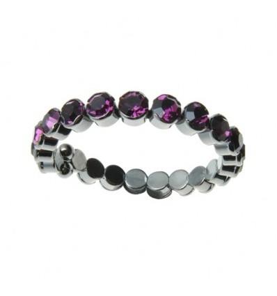 Bratara reglabila cu cristale Swarovski violet