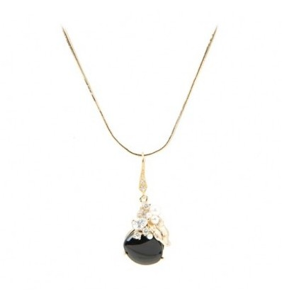 Colier placat cu aur 14K, decorat onix, cristale cubic zirconia si perle