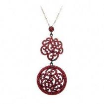 Colier rodiat, decorat cu cristale Swarovski rosii