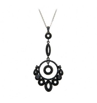 Colier rodiat, decorat cu cristale Swarovski negre