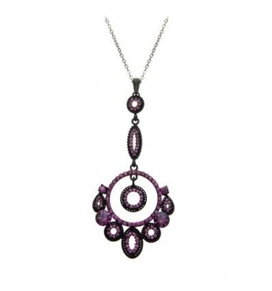 Colier rodiat, decorat cu cristale Swarovski violet