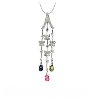 Colier rodiat, decorat cu cristale Swarovski multicolore