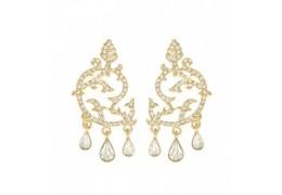 Cercei placati cu aur si decorati cu cristale Swarovski