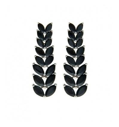 Cercei rodiati decorati cu cristale Swarovski negre