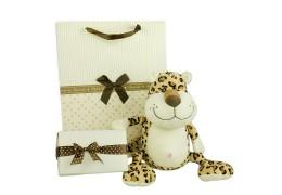 Pusculita leopard de plus si ambalaj de lux pentru cadou