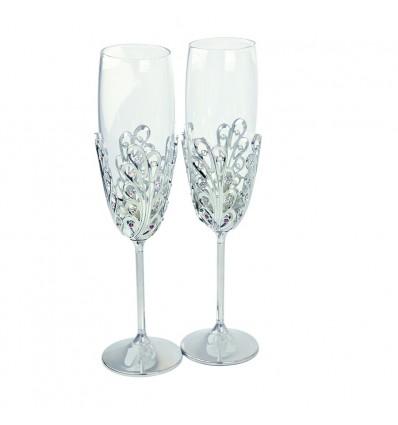 Pahare de sampanie decorate cu cristale Swarovski