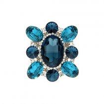 Brosa moderna cu cristale Swarovski albastre