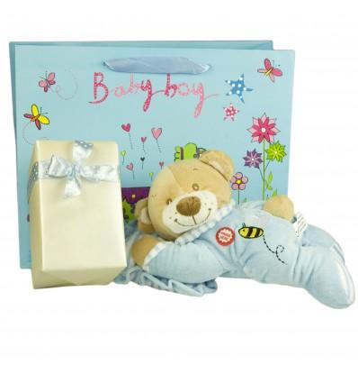 Ursuletul somnoros si ambalaj de lux pentru cadoul tau - Bleu