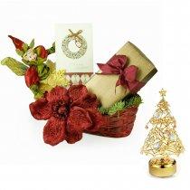 Santa's Elf - Cos de Craciun cu bradut cu cristale Swarovski