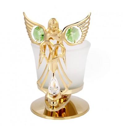 Candela - ingeras placat cu aur, decorat cu cristale Swarovski