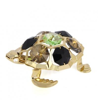 Testoasa cu cristale Swarovski placata cu aur