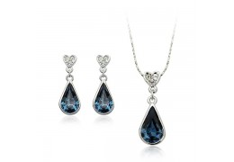 Blue Drops - Set de cercei si colier placate cu aur 18Kt si decorat cu cristale