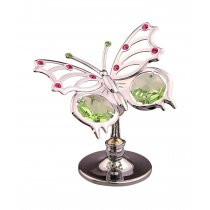Fluturas cu cristale Swarovski vernil si roz