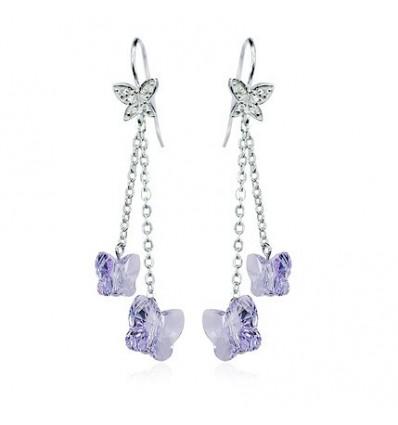 """""""Butterflies"""" - Cercei din argint cu cristale austriece"""