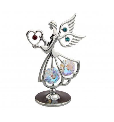 Ingeras argintiu cu cristale Swarovski aqua