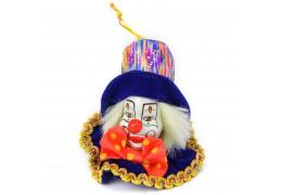 Sorriso - clovn din portelan si catifea, magnet pentru frigider sau decoratiune pentru bradul de Craciun