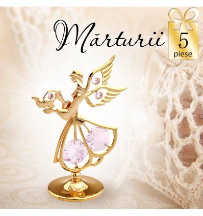 Ingeras auriu cu cristale Swarovski violet - oferta de 5 marturii botez