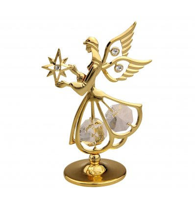 Ingeras auriu cu cristale Swarovski albe