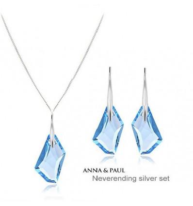 Blue Ciel - Set de cercei si colier din argint decorat cu cristale Swarovski