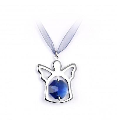 Ingeras cu cristale Swarovski albastru pe panglica din organza