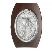 Icoana argintata ovala  pe lemn cu Fecioara cu  Pruncul 25*17.5 cm