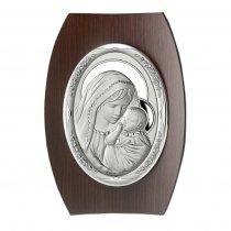 Icoana argintata ovala  pe lemn wenge 25*17.5 cm