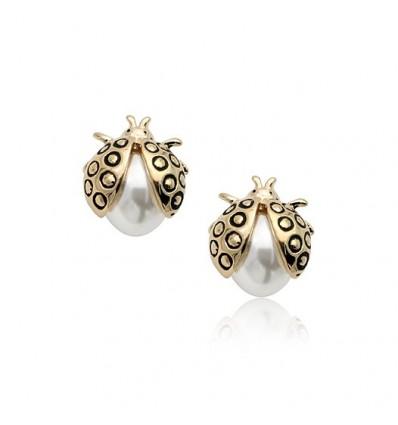 Buburuza - Cercei placati cu aur 14K si decorati cu perla