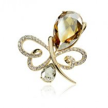 Champagne Butterfly - brosa placata cu aur si decorata cu cristale Swarovski