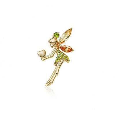 Tinkerbell in love  - Brosa decorata cu cristale verzi si topaz