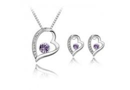 Violet Hearts - Set de colier si cercei placati cu platina