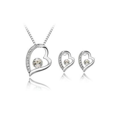 White Hearts - Set de colier si cercei placati cu platina