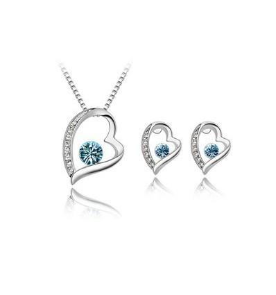 Blue Hearts - Set de colier si cercei placati cu platina