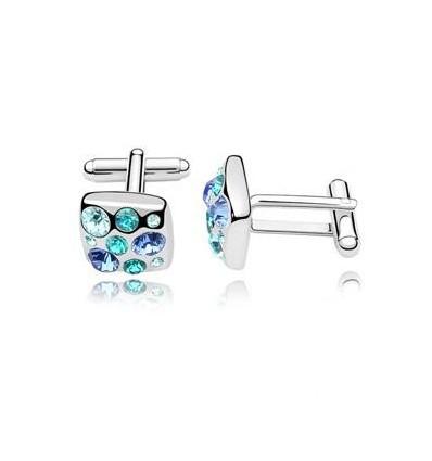 Butoni placati cu platina si decorati cu cristale austriece albastre