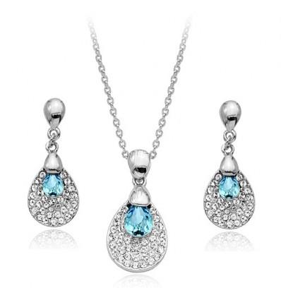 Spring Rain - Set de colier si cercei rodiat si decorat cu cristale austriece