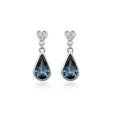 Blue Drops - Cercei rodiati decorati cu cristale austriece