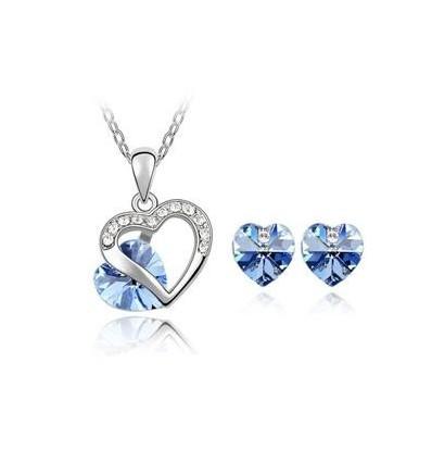 Blue Love - Set de colier si cercei decorat cu cristale