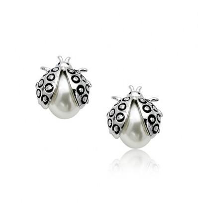 Buburuza - Cercei rodiati decorati cu perla