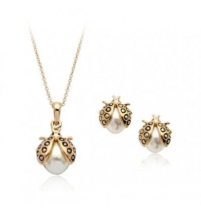 Buburuze - Set de colier si cercei decorati cu perla