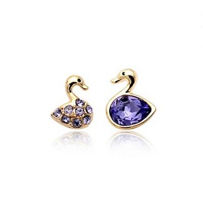 Purple Swan - cercei cu cristale