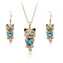 Kitty - Set de colier si cercei cu cristale
