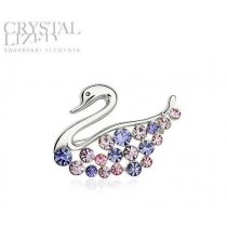 Lovely Swan - Brosa lebada decorata cu cristale Swarovski