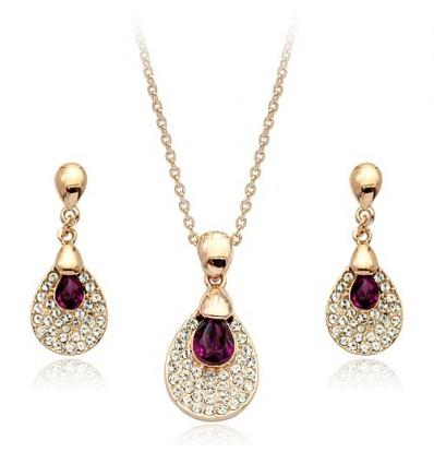 Violet Sky  - Set de colier si cercei rodiat si decorat cu cristale austriece